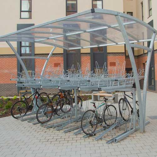 covered bike racks at side of building
